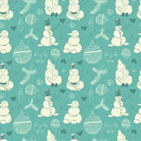 Vintage pattern of snowmen, snowflakes and Christmas balls Stock Photography