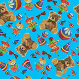 Vintage  pattern teddy bear and clown Stock Photos
