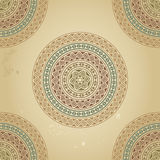 Vintage Pattern With Ethnic Ornament On Grunge Background Stock Images
