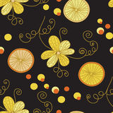 Vintage pattern with yellow flowers Royalty Free Stock Photos