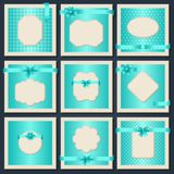 Vintage patterned cards with  gift bows and Royalty Free Stock Image