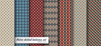 Vintage patterns. Set of vintage polka dotted patterns. EPS10 Stock Image