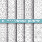 10 vintage patterns for universal background. Endless texture can be used for wallpaper, pattern fill, web page background. Vector illustration for web design Stock Image