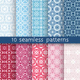 10 vintage patterns for universal background. Endless texture can be used for wallpaper, pattern fill, web page background. Vector illustration for web design Royalty Free Stock Photography