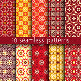 10 vintage patterns for universal background. Endless texture can be used for wallpaper, pattern fill, web page background. Vector illustration for web design Royalty Free Stock Image