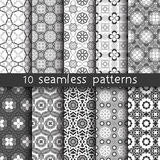 10  vintage patterns for universal background. Endless texture can be used for wallpaper, pattern fill, web page background. Vector illustration for web design Stock Photo