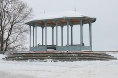 Vintage pavilion on the Vladimir Hill, it is one of the best parks in Kyiv, Ukraine. Winter morning view.  Royalty Free Stock Images