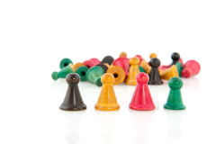 Vintage pawns in a row Stock Photos