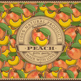 Vintage Peach Label On Seamless Pattern Royalty Free Stock Photo