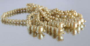 Vintage pearl necklace. Beautiful vintage white pearl necklace with reflection Royalty Free Stock Photography