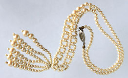 Vintage pearl necklace Stock Photos