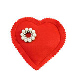 Vintage pearls brooch. Vintage pearls and diamonds brooch on red heart. Isolated over white. This image is exclusive to Dreamstime and has never been on sale Royalty Free Stock Photo