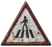 Vintage pedestrian crossing sign. Vintage rusty pedestrian crossing sign on white background Royalty Free Stock Images