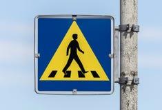 Vintage pedestrian transit traffic sign in Iceland Stock Images