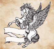 Vintage Pegasus with scroll for your text. Royalty Free Stock Photo