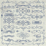 Vintage Pen Drawing Swirls Collection on Crumpled Paper. Set of Pen Drawing Doodle Design Elements on Crumpled Paper Texture. Decorative Swirls, Scrolls, Text Royalty Free Stock Photography