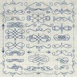 Vintage Pen Drawing Swirls Collection sur le papier chiffonné Photographie stock libre de droits
