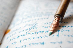 Vintage Pen. With paper and text written with ink royalty free stock images