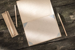 Vintage pencil and drawing paper Stock Image