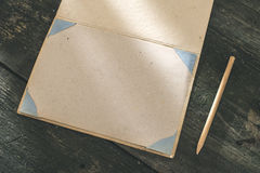 Vintage pencil and drawing paper. Weak sunlight Royalty Free Stock Photography