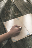 Vintage pencil and drawing paper. Weak sunlight Royalty Free Stock Photos