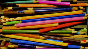 Vintage pencils. Colourful vintage pencols in the box Royalty Free Stock Photo