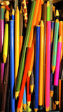Vintage pencils. Colourful vintage pencols in the box Stock Image