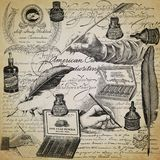 Vintage Penmanship Collage Background Paper Design - Fountain Pens - Penmanship - Ink - Calligraphy royalty free stock images