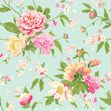 Vintage Peony Flowers Background Stock Illustration