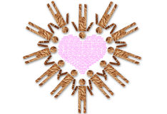 Vintage people symbol heart isolated on the white. Image made from vintage paper for people symbol Stock Images