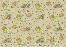 Vintage pepper's pattern with spices. Can be used as template. EPS 10.0. RGB. This illustration can contain some open paths and a transparency blend, which Stock Photography
