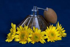 Vintage perfume bottleand yellow flow Royalty Free Stock Photo