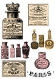 VIntage  perfume bottles clip art. Vintage bottles clip art set vector illustration
