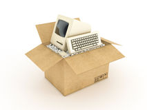 Vintage personal computer in cardboard box Stock Photo