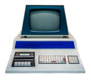 Vintage Personal Computer. Retro Vintage Personal Computer PC With Keyboard, Monitor And Audio Cassette Desk stock photo