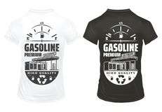 Vintage Petrol Prints On Shirts Set. With inscription fuel gauge and gas station isolated vector illustration Royalty Free Stock Images