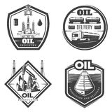 Vintage Petroleum Industry Labels. With oil extraction production delivery and transportation isolated vector illustration Stock Images