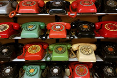Vintage phone arrange on the shelve. Collection of vintage rotary phone arrange on the shelve stock images