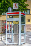Vintage phone box in Sardinia Stock Image