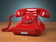 Vintage phone on green background. Hotline support concept. Royalty Free Stock Photo