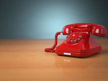 Vintage phone on green background. Hotline support concept. Stock Photos