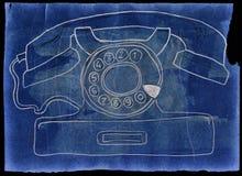 Vintage phone. Grunge style. Hand drawn. Mixed media artwork Stock Photo