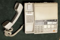 Vintage phone with handset and answering machine royalty free stock photos