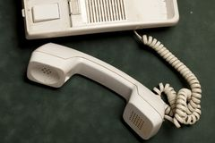 Vintage phone with handset and answering machine stock photos