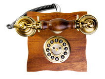 Vintage phone made from wood and metal Stock Images