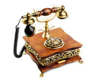 Vintage phone made from wood and metal Royalty Free Stock Image