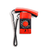 Vintage phone. Vintage red telephone. Wall phone isolated on white background. Communication technology. Object with clipping path Royalty Free Stock Photos