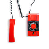 Vintage phone. Vintage red telephone. Wall phone isolated on white background. Communication technology. Object with clipping path royalty free stock images