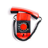 Vintage phone. Vintage red telephone. Wall phone isolated on white background. Communication technology. Object with clipping path Royalty Free Stock Photo