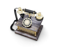 Vintage phone. Retro phone  on white background. Vintage telephone. 3d illustration Stock Photos